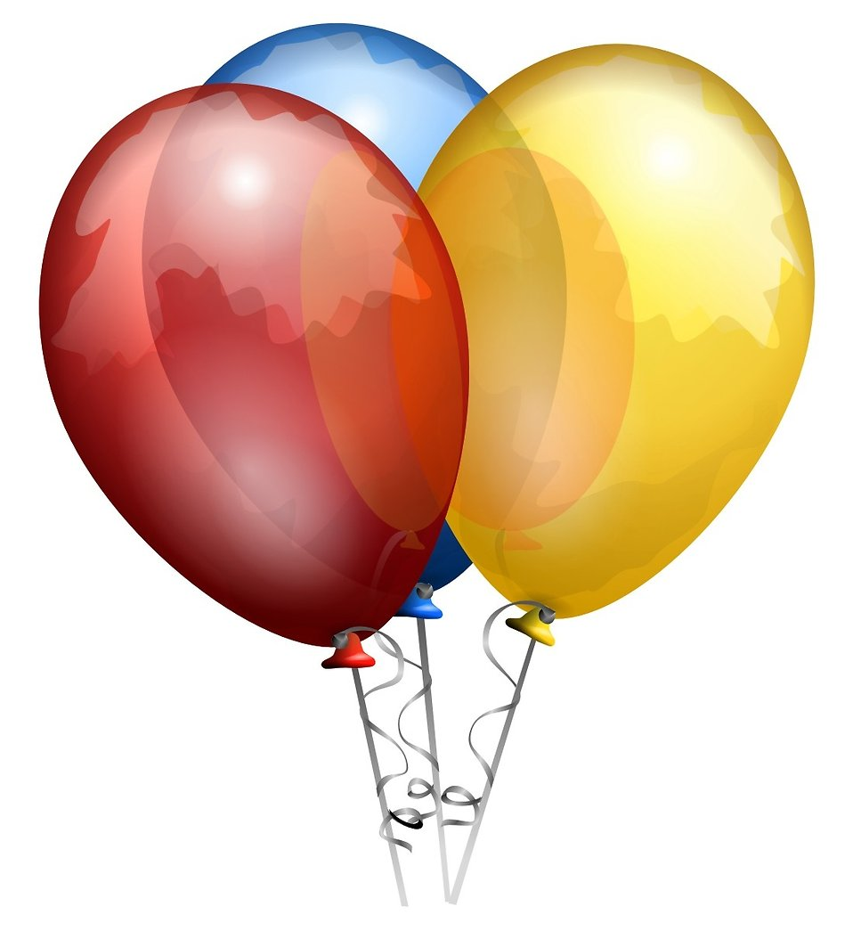 3 colored balloons clip art.