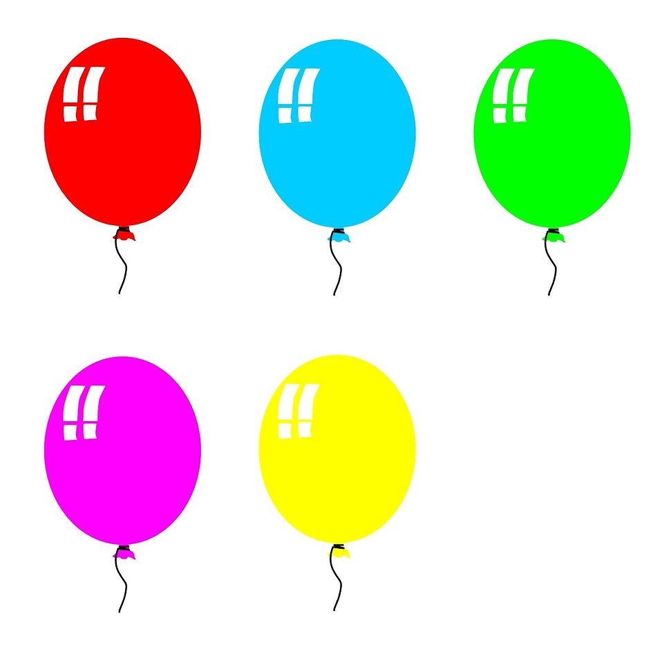 Birthday Balloons Clip Art Free: Colored Balloons