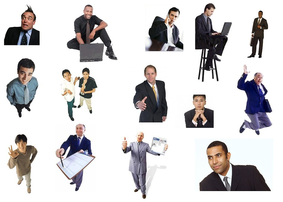 Collection of business men white background : Free Stock Photo
