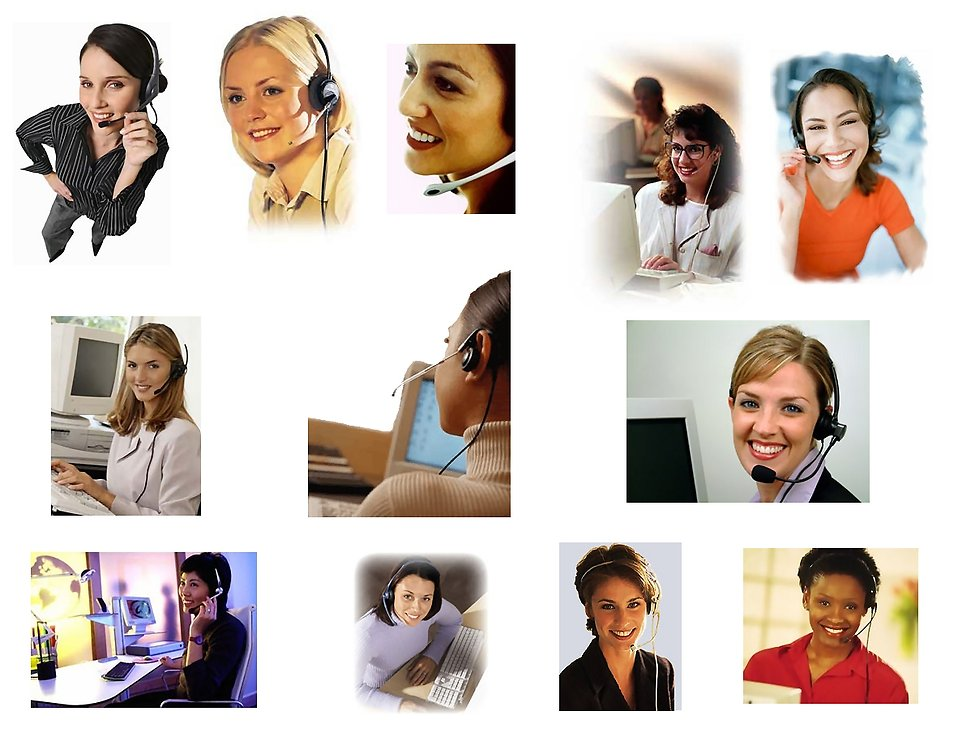 Various call center & support business women.