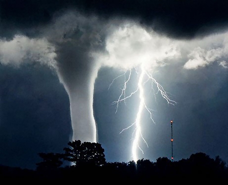Tornado and lightning : Free Stock Photo