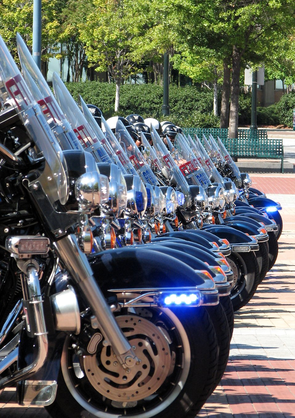Police motorcycles lined up.