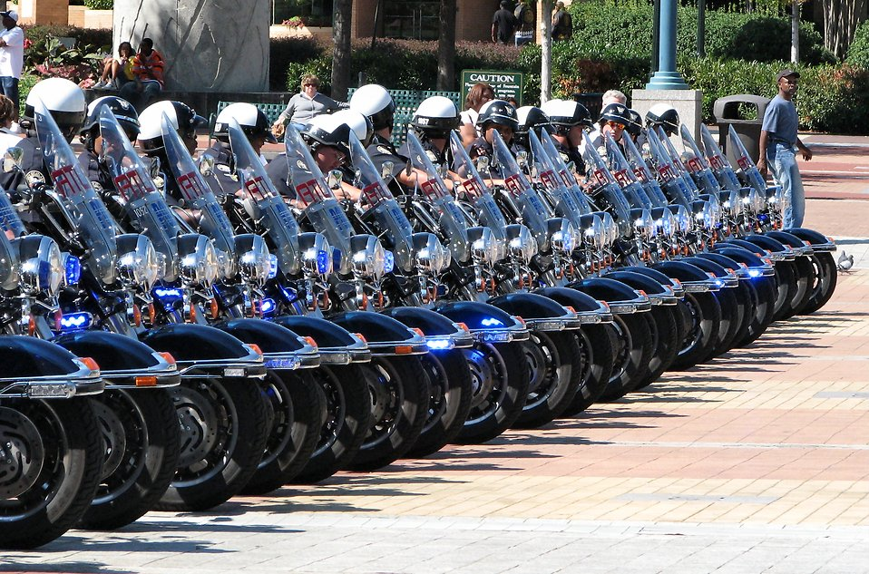 Police officers on motorcycles : Free Stock Photo