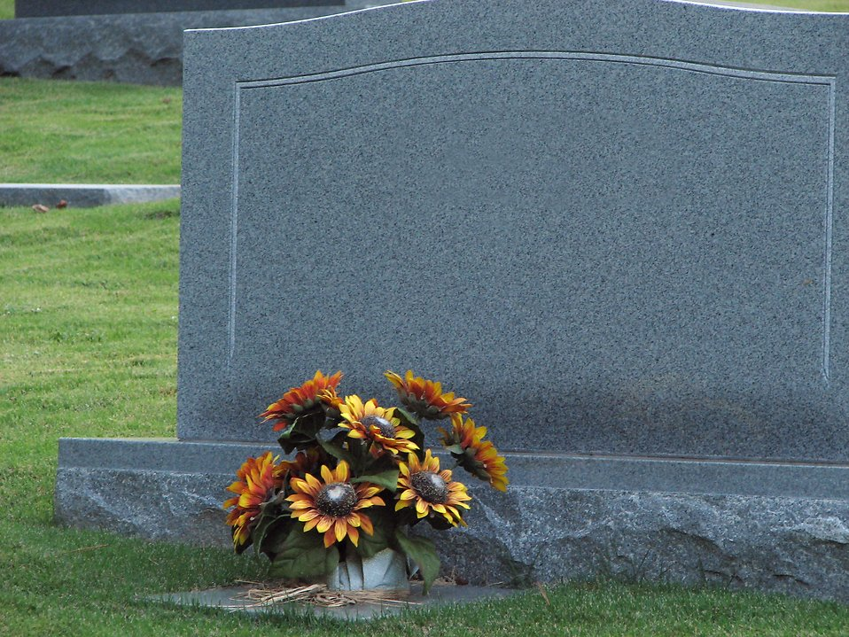 A blank tombstone with flowers : Free Stock Photo