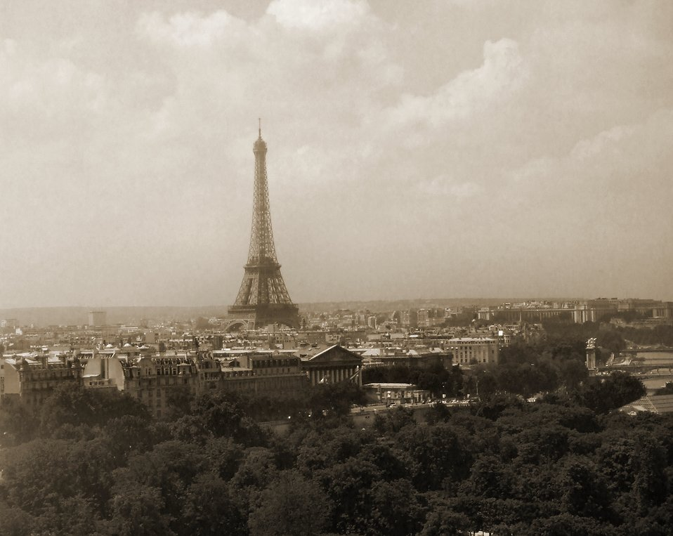 The Eiffel Tower sepia tone : Free Stock Photo
