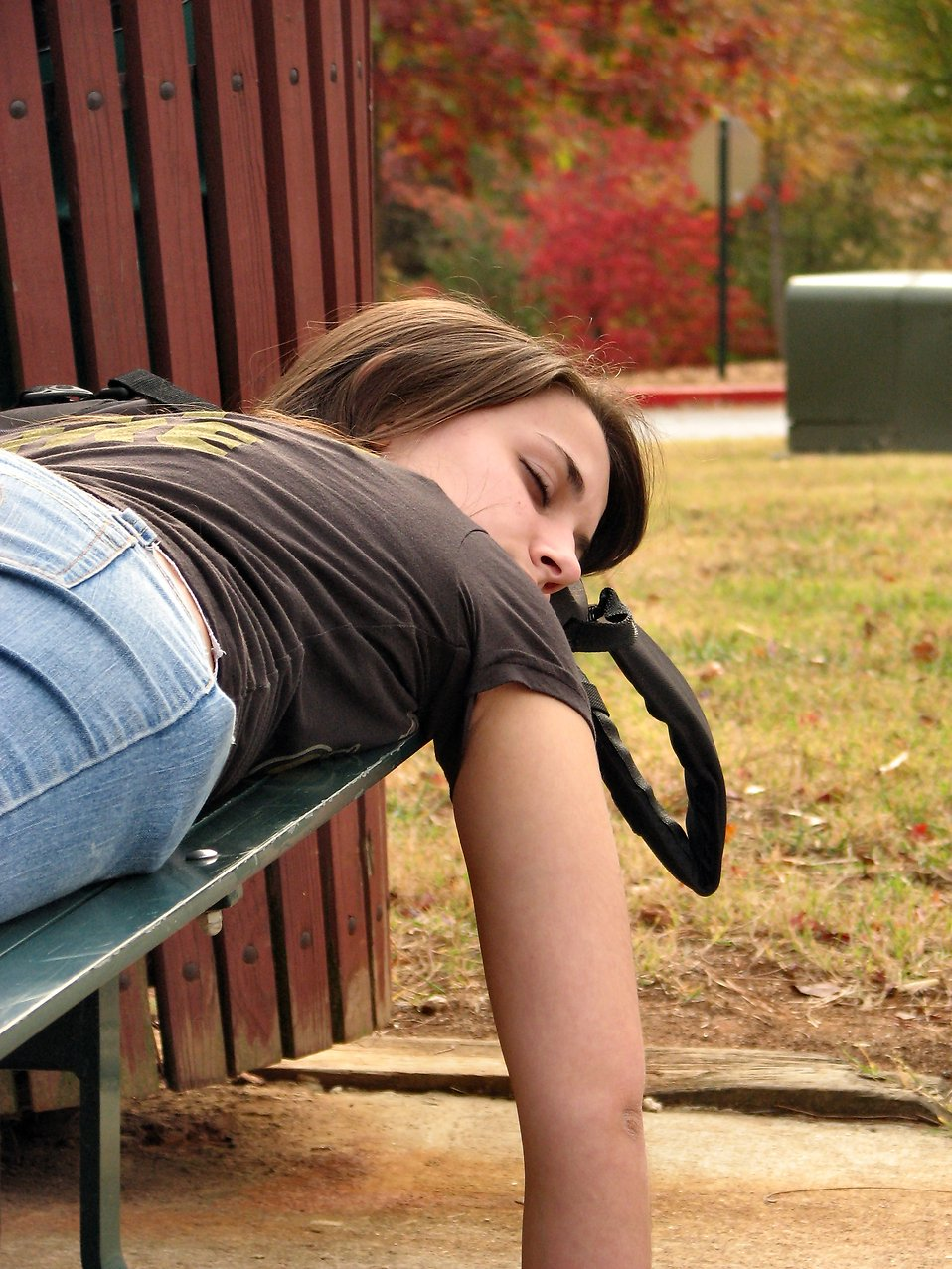 A teen girl sleeping on a bench : Free Stock Photo