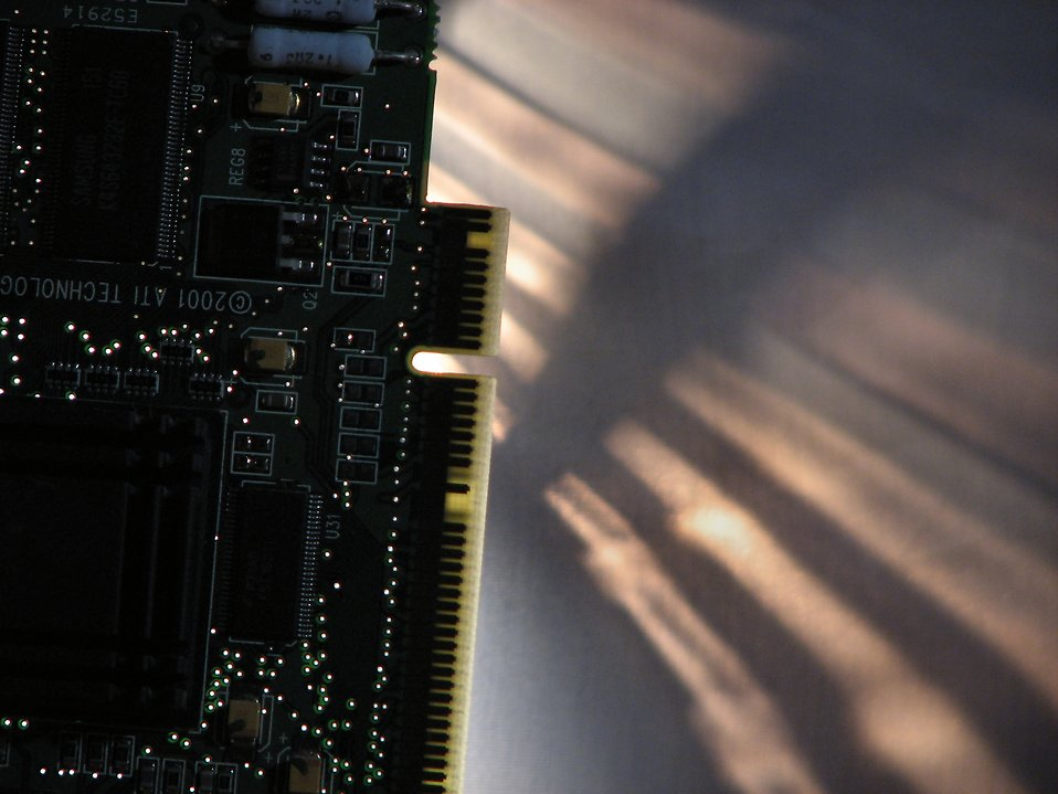 Closeup of a compuer video card : Free Stock Photo