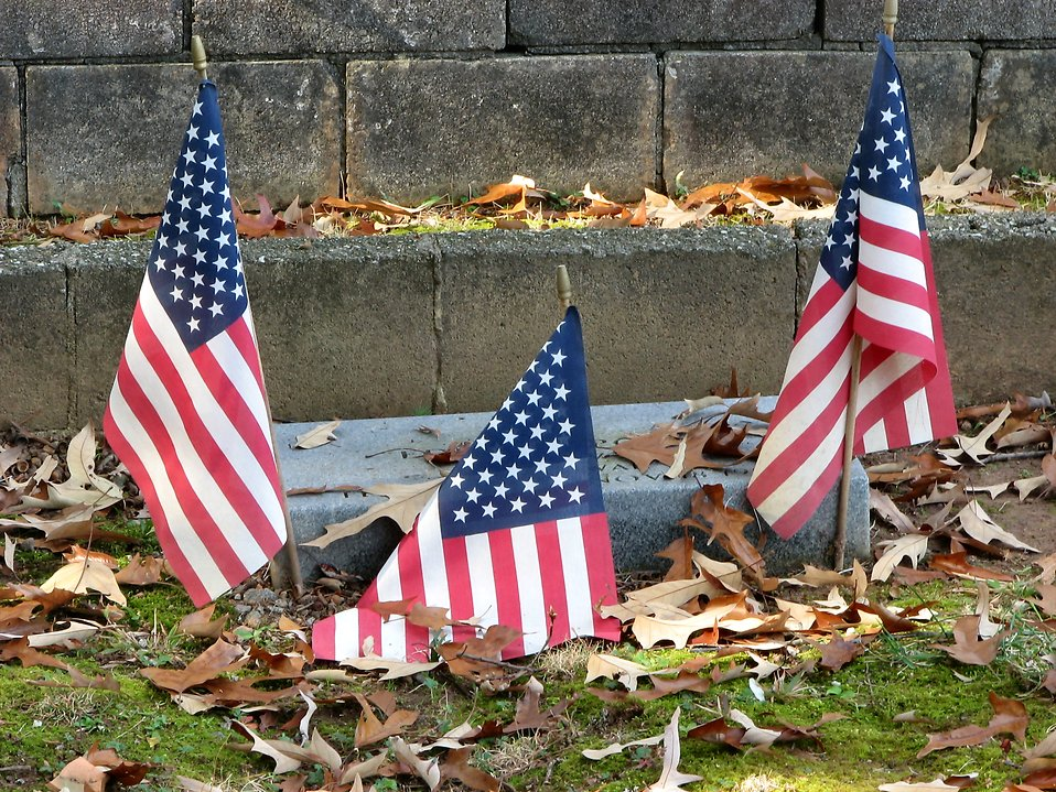 Grave with three US flags : Free Stock Photo