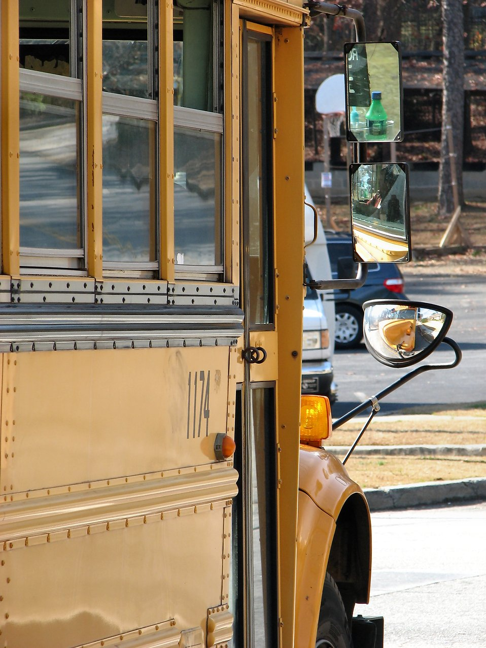Closeup of a school bus : Free Stock Photo