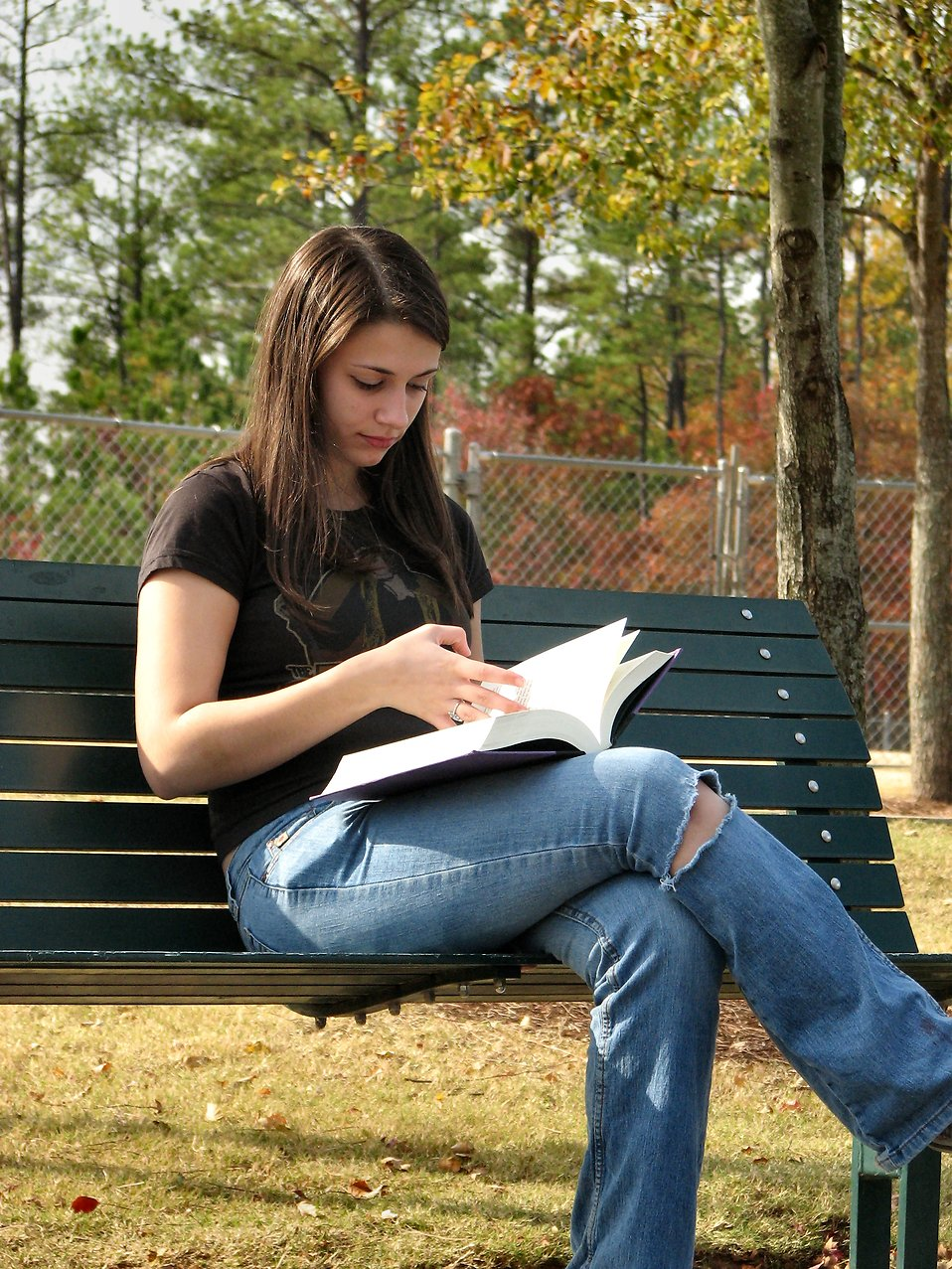 Teenage girl reading a book on a bench : Free Stock Photo