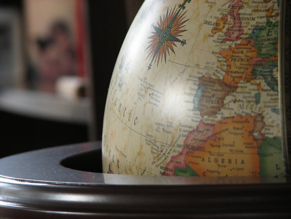 Closeup of a map on a globe : Free Stock Photo