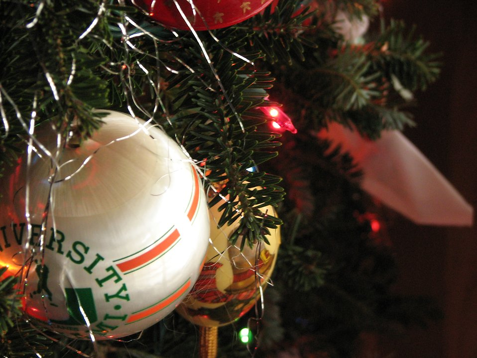 Closeup of ornaments on a Christmas tree : Free Stock Photo
