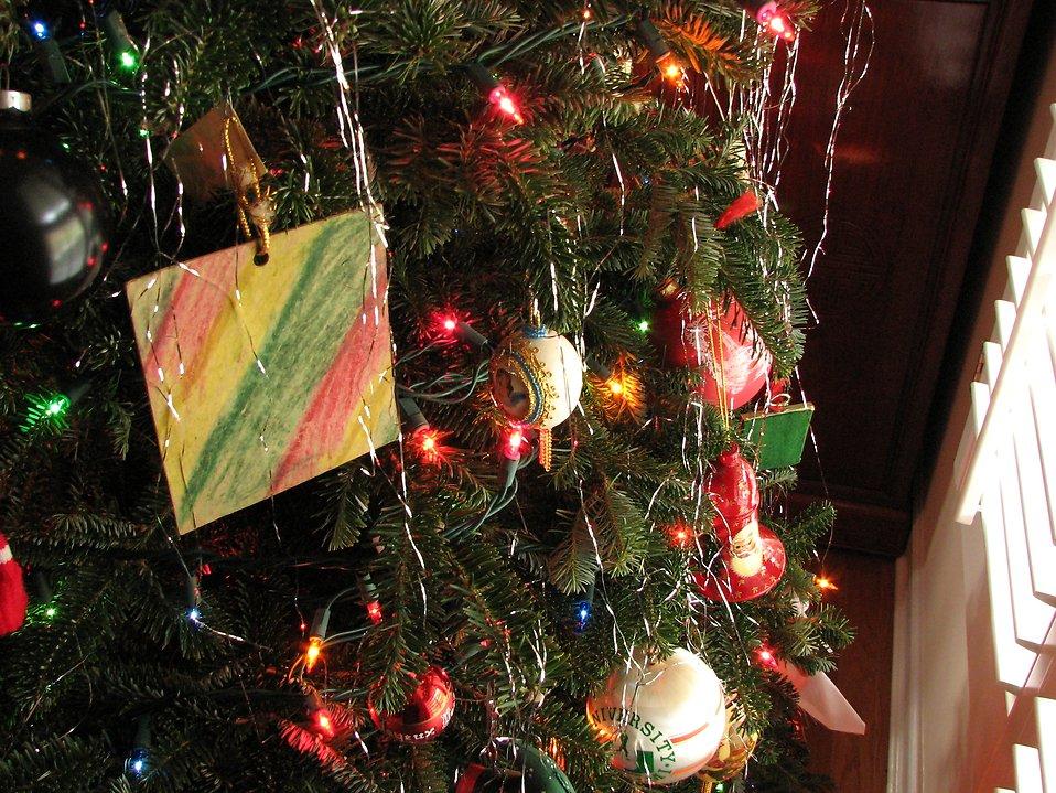 Closeup of a Christmas tree by a window : Free Stock Photo