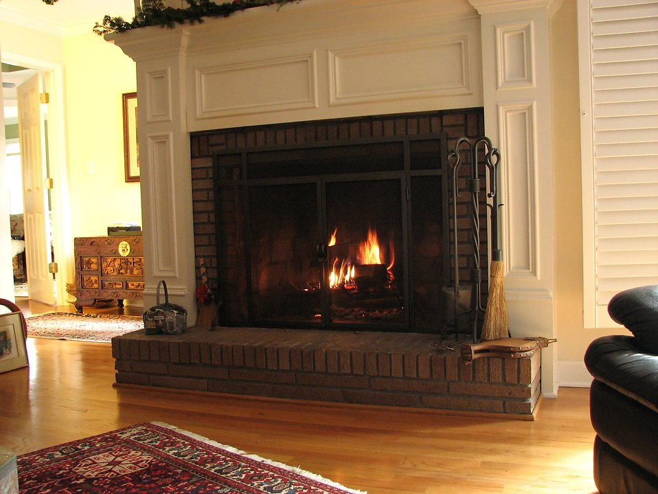 A fire in a fireplace : Free Stock Photo