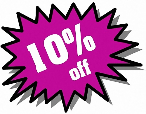 Purple 10 percent off stickers : Free Stock Photo