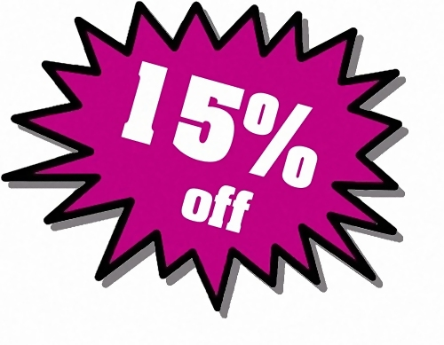 Purple 15 percent off stickers : Free Stock Photo