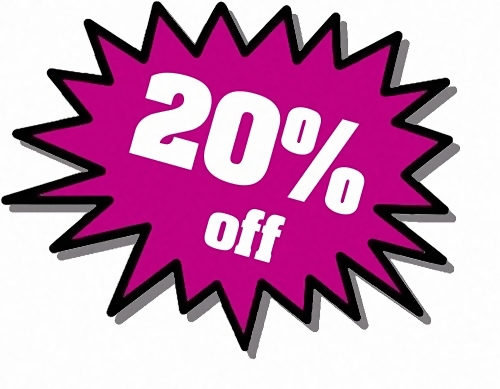 Purple 20 percent off stickers : Free Stock Photo