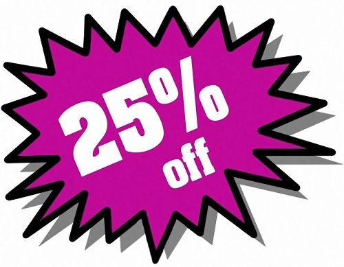 Purple 25 percent off stickers : Free Stock Photo