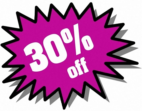 Purple 30 percent off stickers : Free Stock Photo
