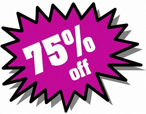 Purple 75 percent off stickers : Free Stock Photo