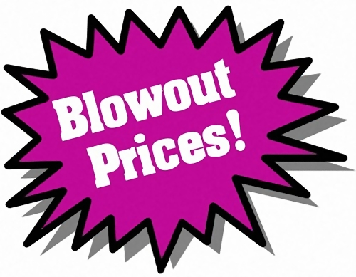 Purple Blowout Prices sticker : Free Stock Photo