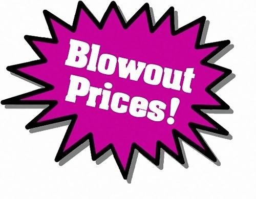 Purple Blowout Prices sticker : Free Stock Photo