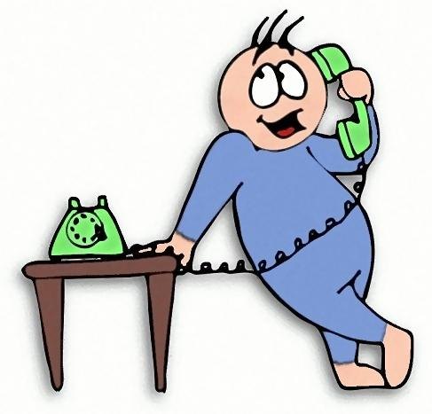 Cartoon guy talking on a telephone : Free Stock Photo