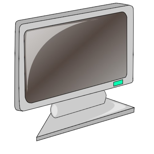 Computer monitor with a blank screen : Free Stock Photo