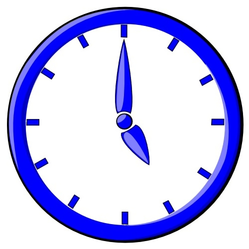 Blue clock illustration : Free Stock Photo