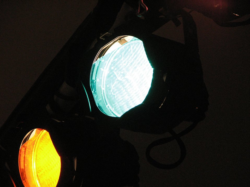 Closeup of colored stage lights : Free Stock Photo