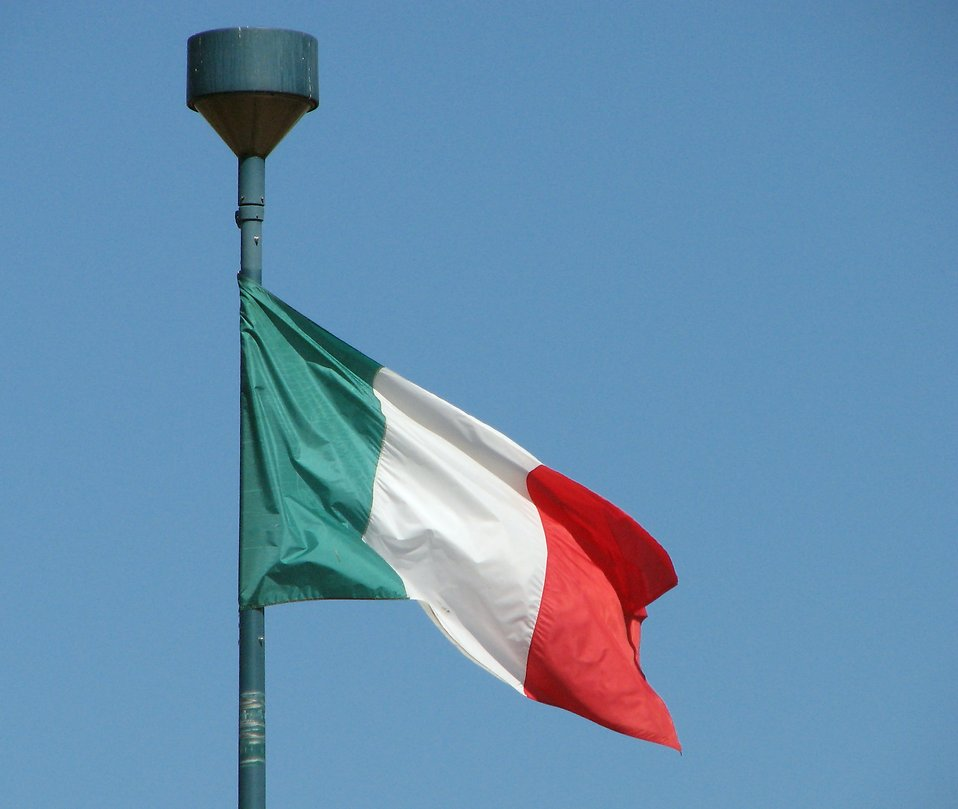 Italian flag in blue sky : Free Stock Photo