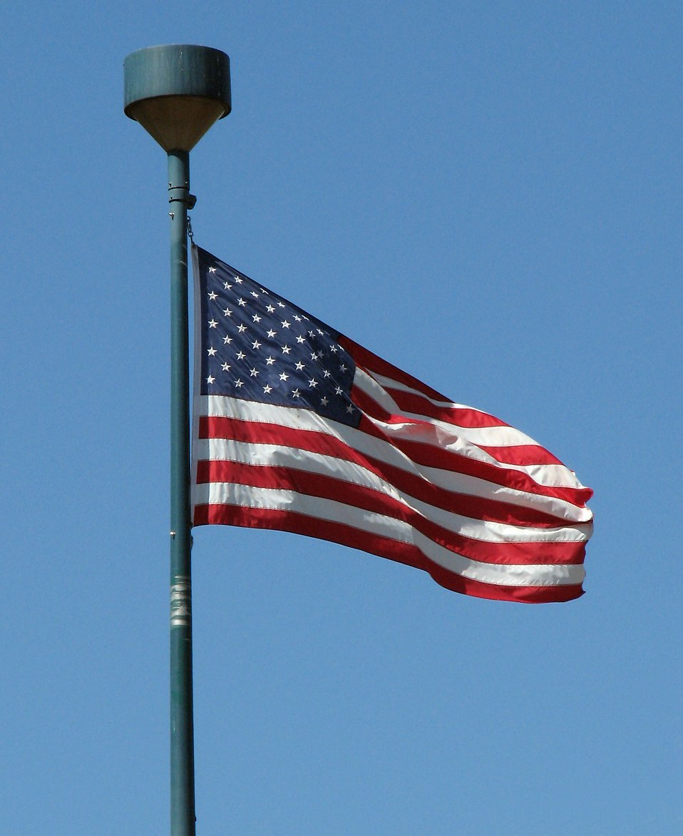 US flag in blue sky : Free Stock Photo