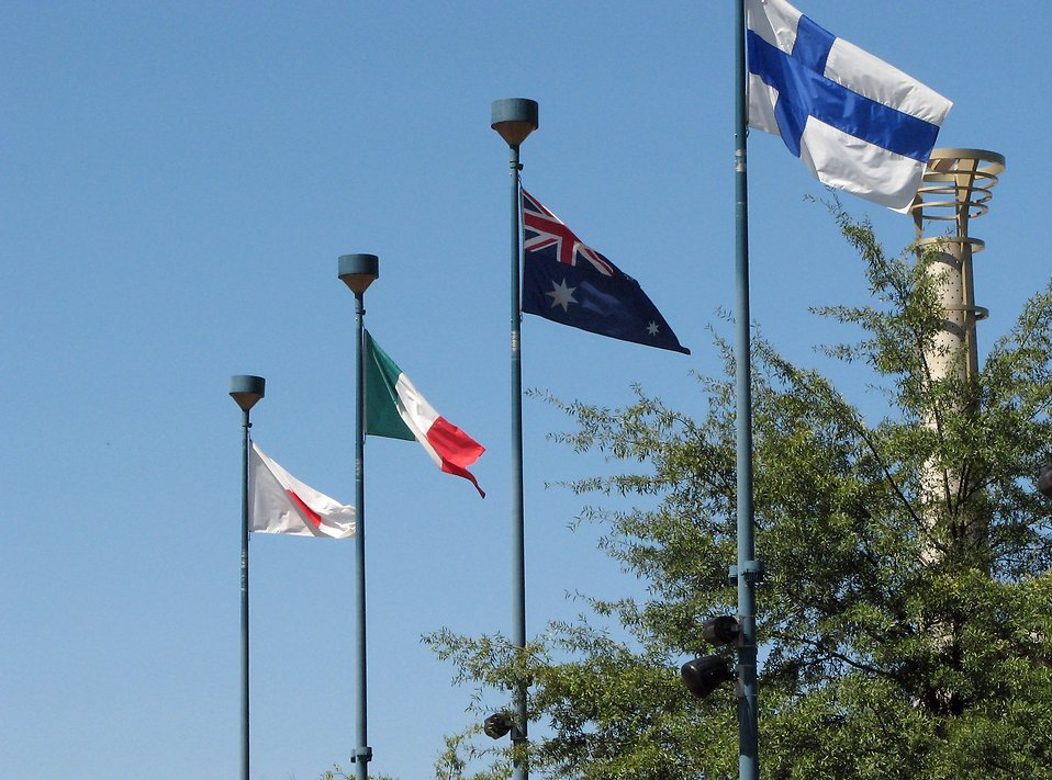 Several flags in Olympic Park in Atlanta, Georgia : Free Stock Photo
