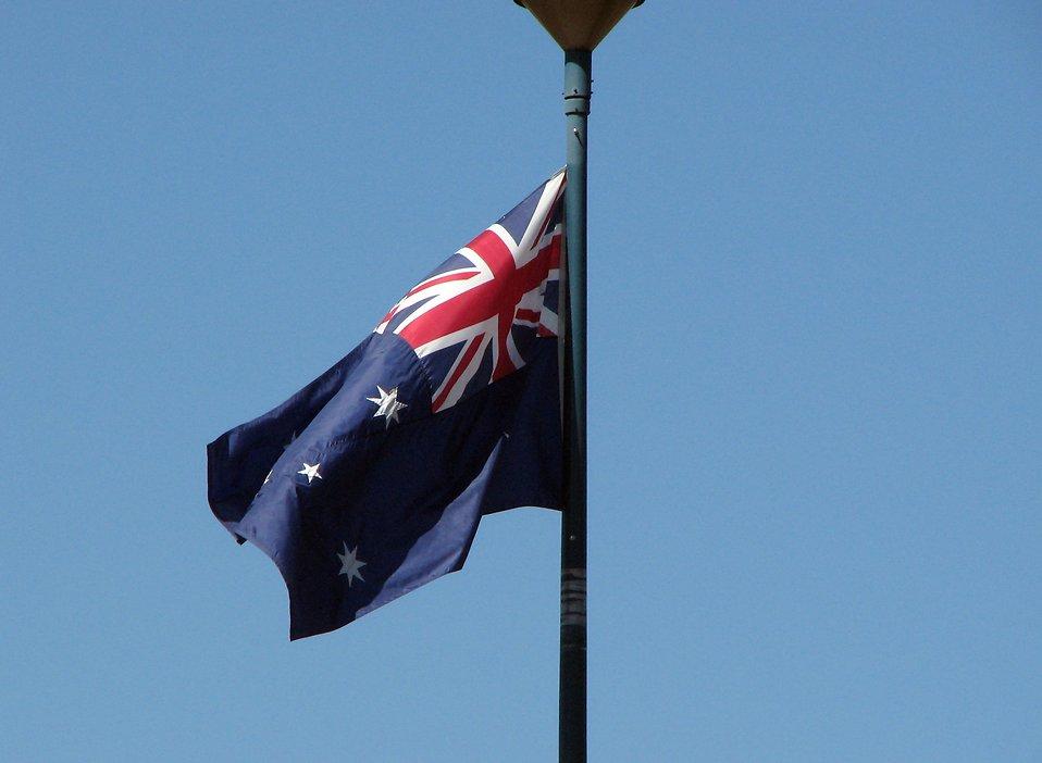 Australian flag in blue sky : Free Stock Photo