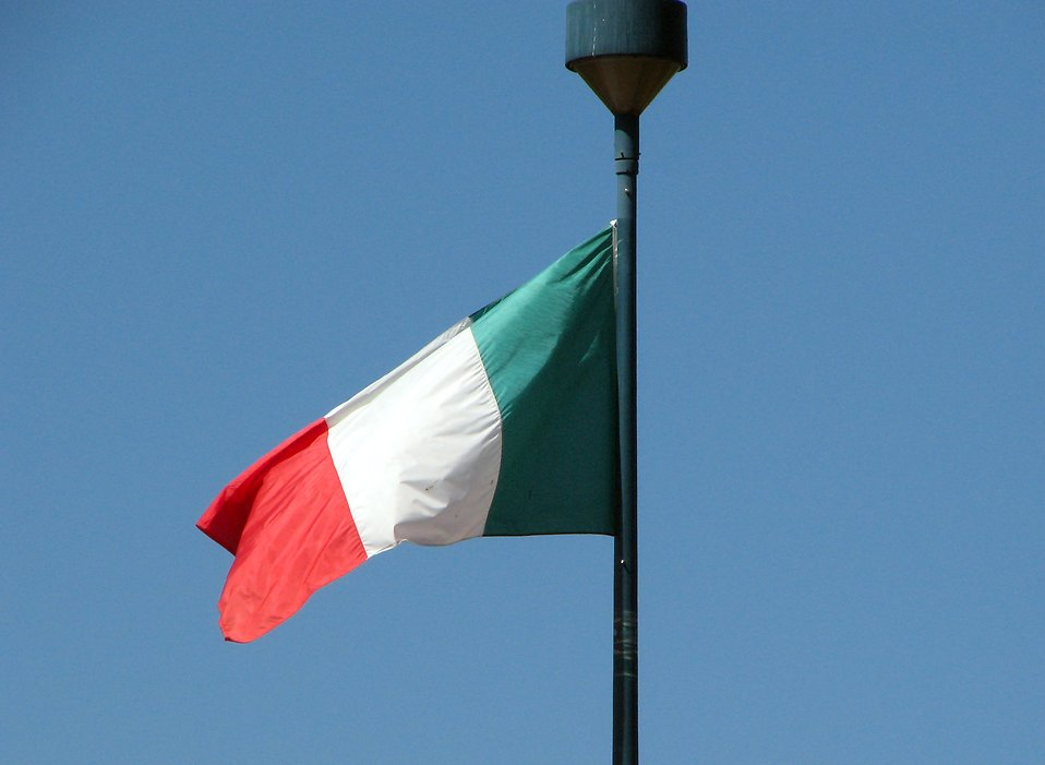 Italian flag in blue sky : Free Stock Photo