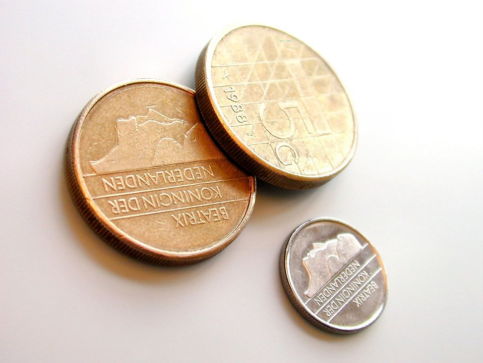 Closeup of Dutch coins : Free Stock Photo