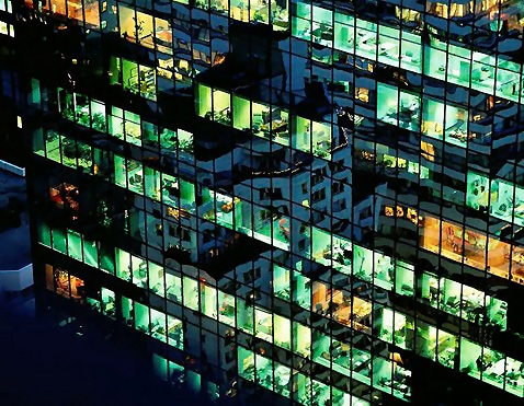 Office building windows at night : Free Stock Photo