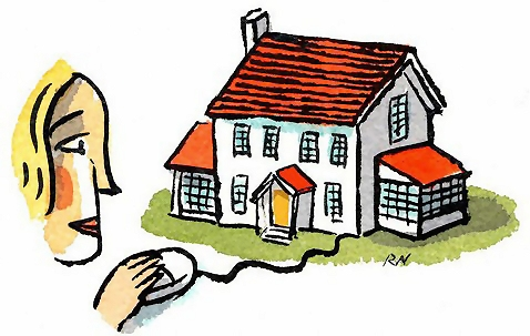 Woman clicking on house illustration : Free Stock Photo