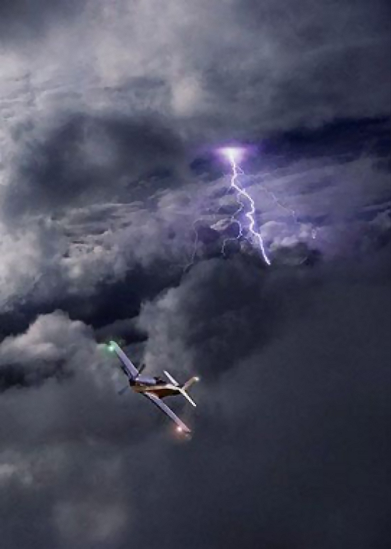 Aircraft flying by lightning : Free Stock Photo