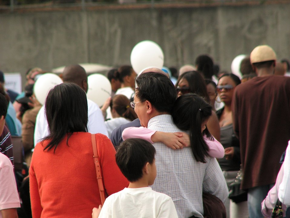 Asian family girl carried by father : Free Stock Photo