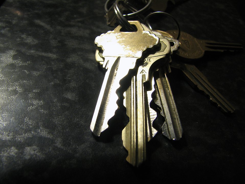 Shiny but worn keys on a ring : Free Stock Photo
