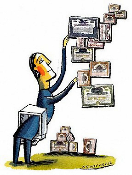 Illustration of man and certificates : Free Stock Photo