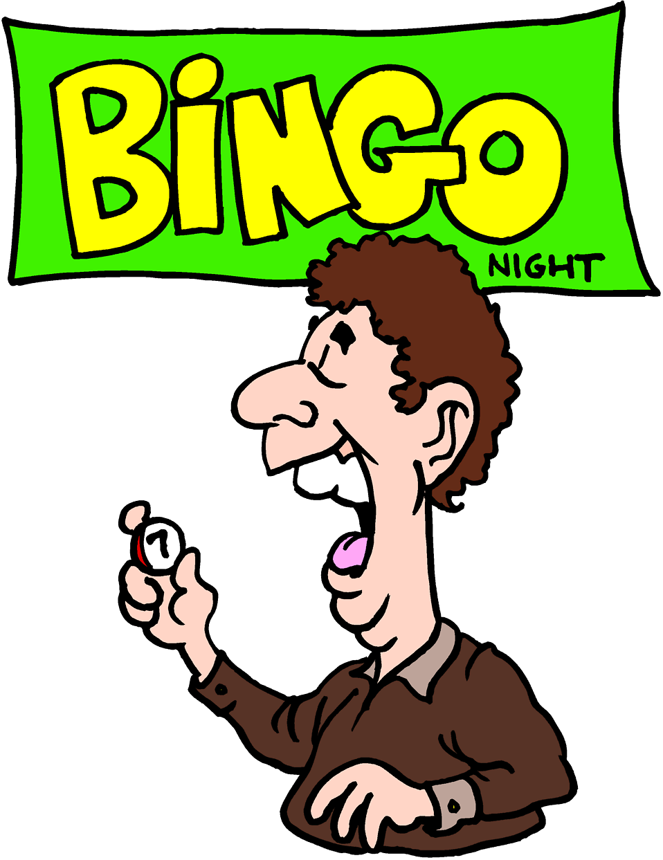 Illustration of a man on bingo night : Free Stock Photo