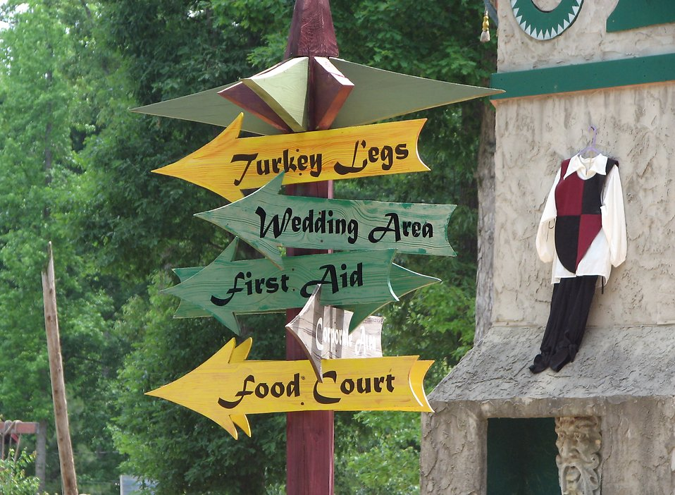 Wooden sign posts at Medieval festival : Free Stock Photo