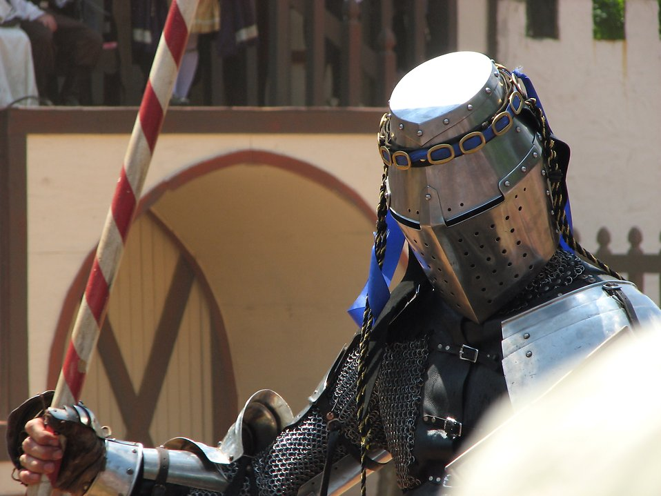 Closeup of knight with lance : Free Stock Photo