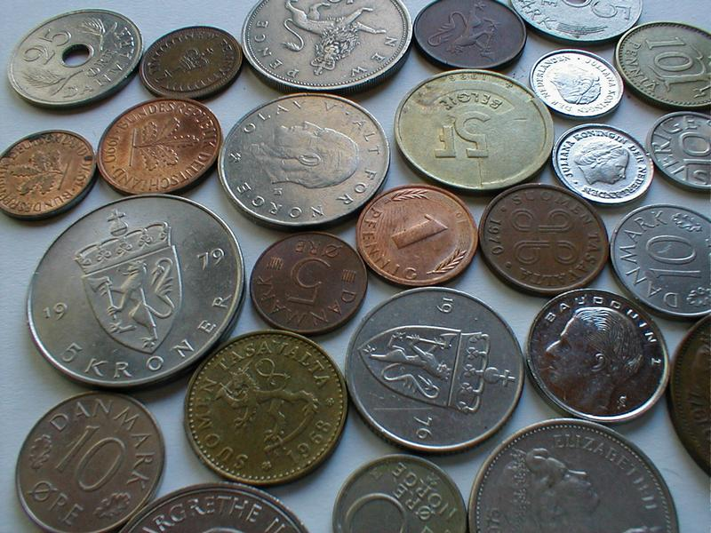 Closeup of European coins : Free Stock Photo