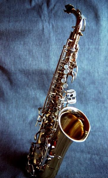 Saxophone with a blue background : Free Stock Photo