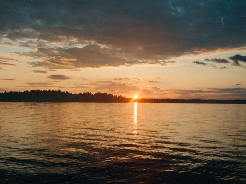 Sunset viewed from the ocean : Free Stock Photo