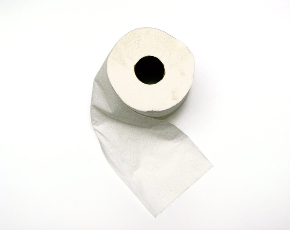 Roll of toilet paper on white background : Free Stock Photo