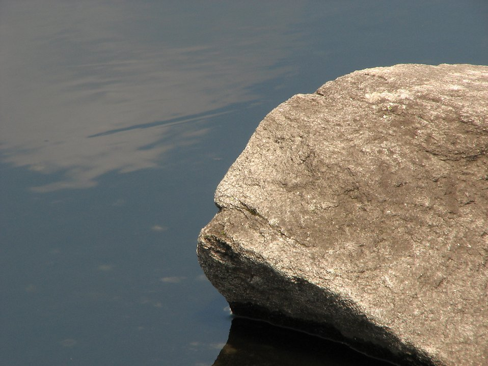 Granite rock in a small pond : Free Stock Photo